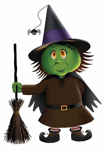 Little Green Witch premium clipart.