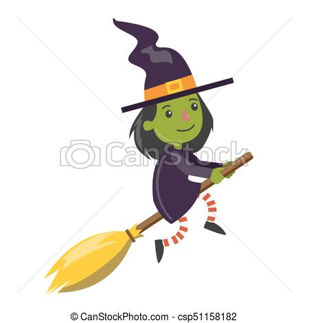 Cartoon green witch. Cartoon green witch flying on broomstick on.