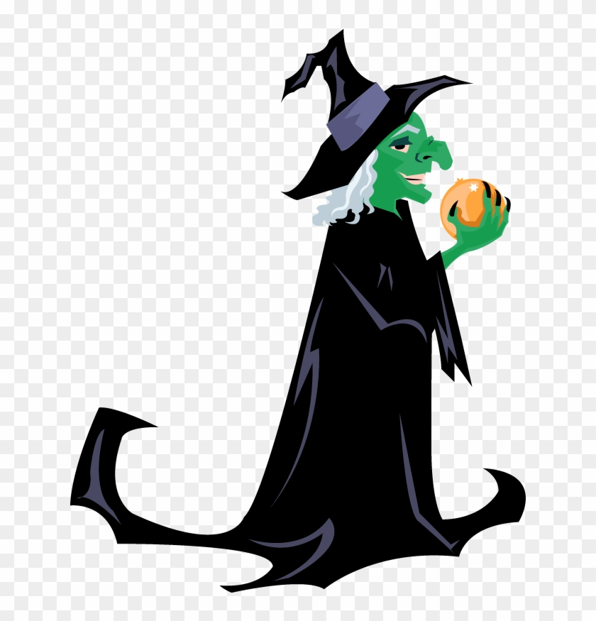 Holidays Halloween Green Witch With Orb.