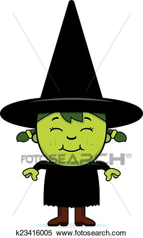 Happy Green Witch Clipart.