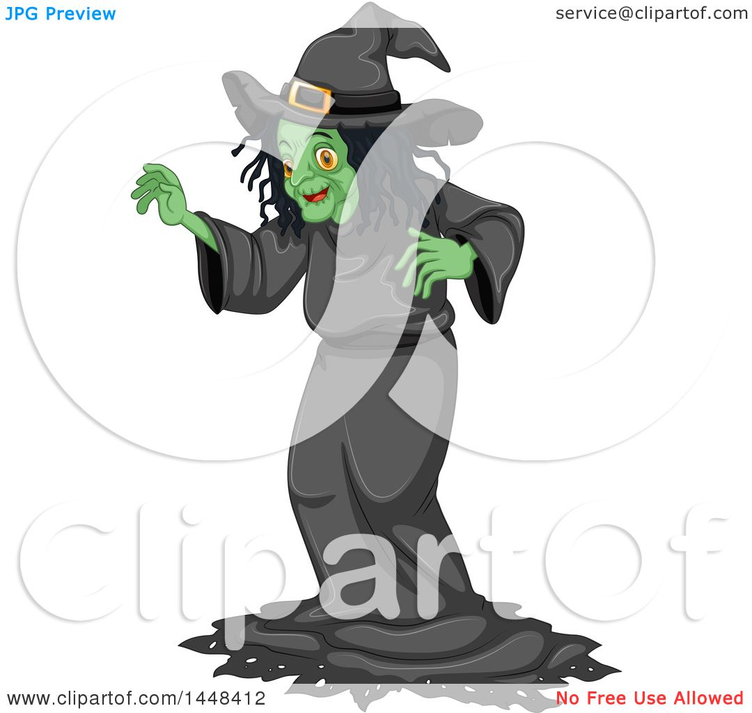 Clipart of a Green Witch.