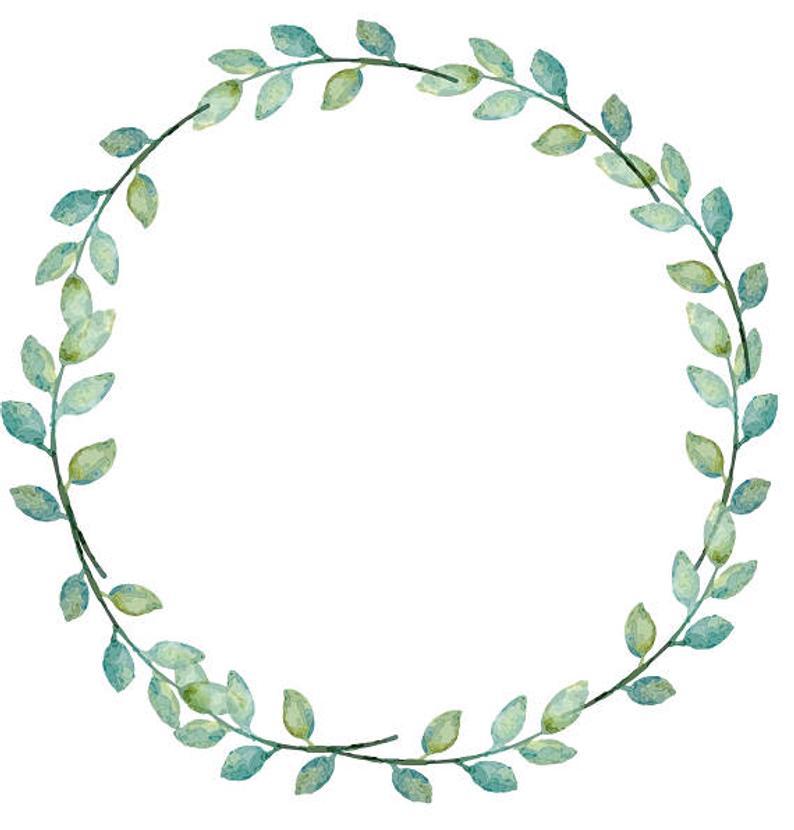 Greenery Clipart Leafy Wreath Laurel Greenery Wreath Watercolor Clipart  Minimalist Wreath Wedding Wreath.