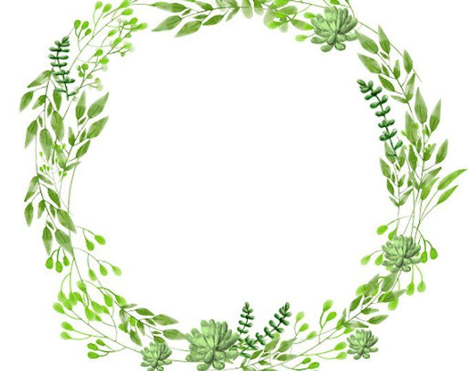 Green Wreath Clipart White Flowers Watercolor Wreath Anemone Clipart.