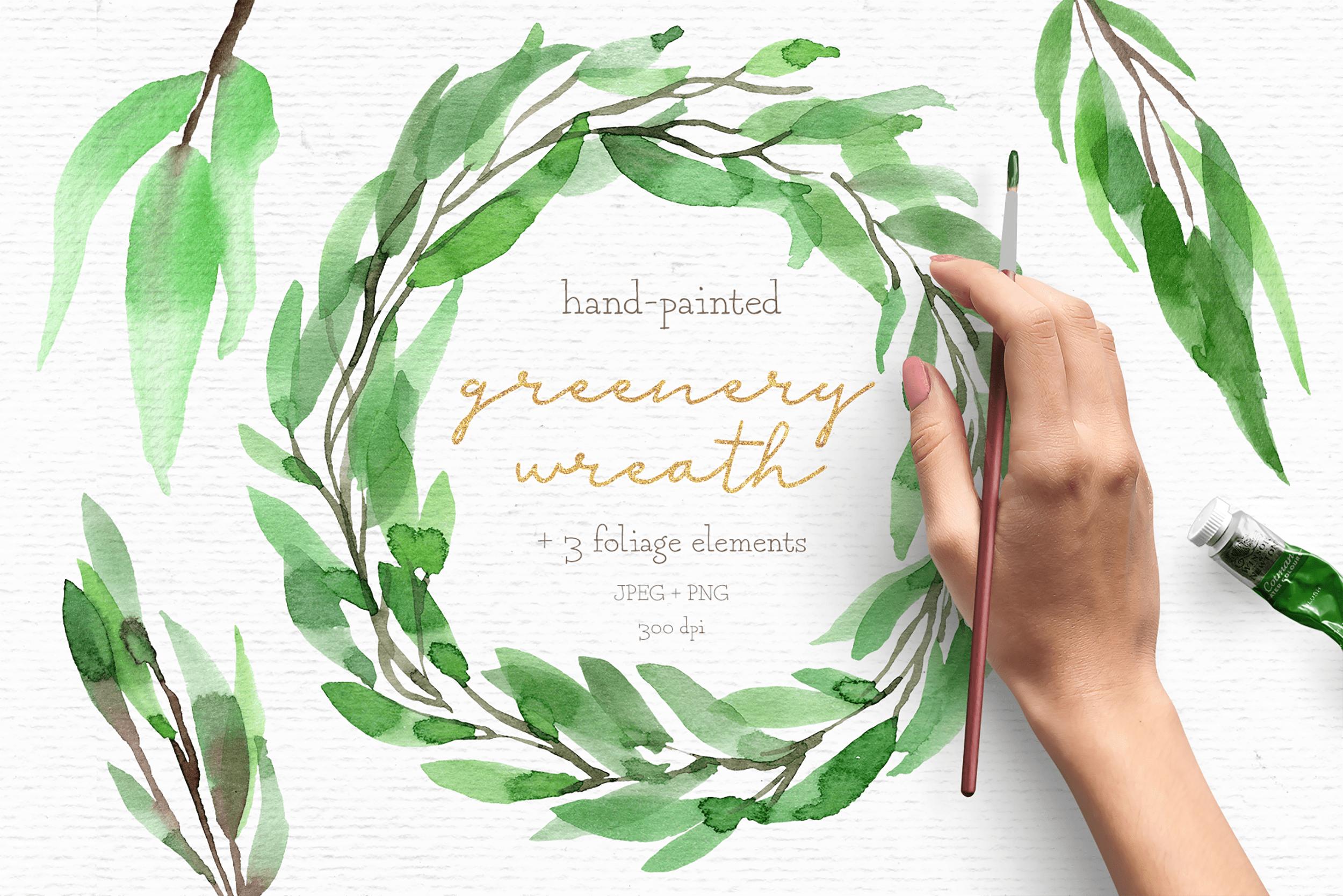 Greenery watercolor wreath clipart.