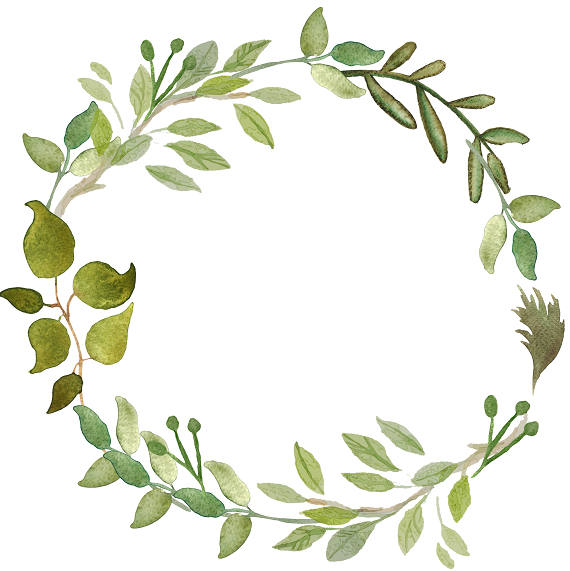 Greenery Clipart Leafy Wreath Watercolor Wreath Watercolor Clipart  Minimalist Wreath.