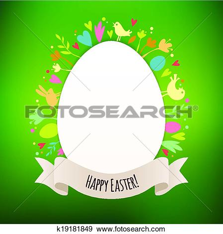 Clip Art of Beautiful Green Easter Card With Symbols of Spring.