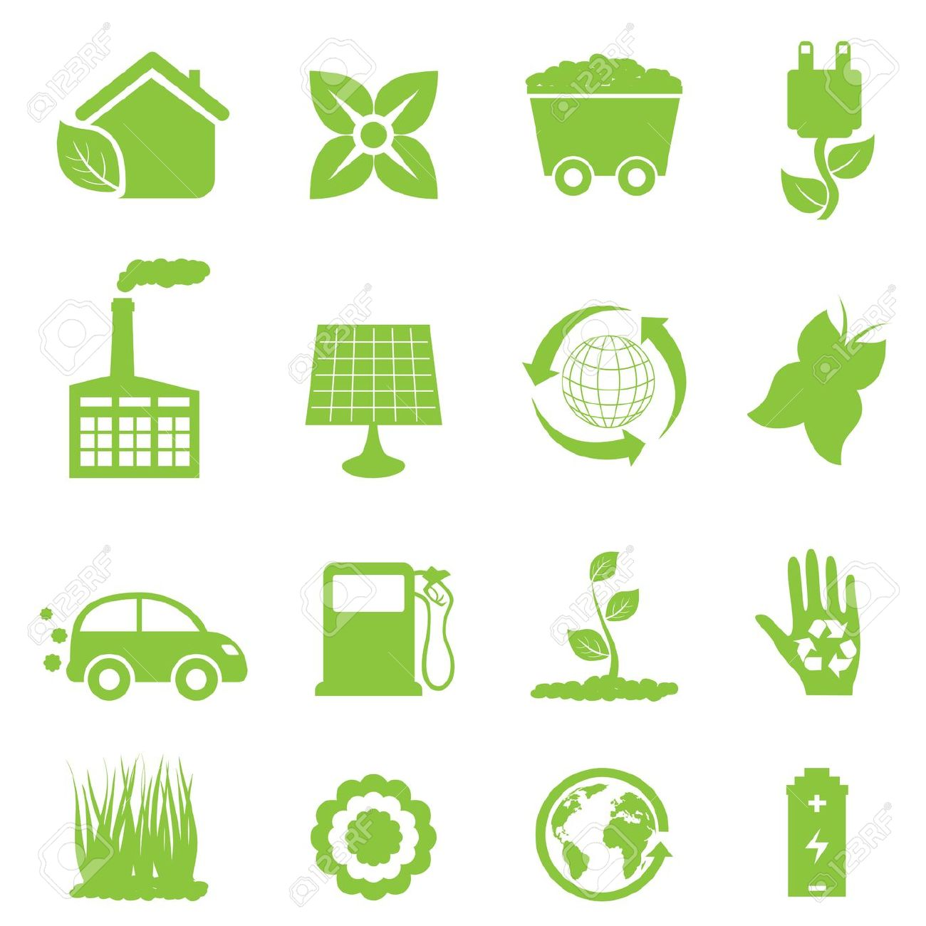 Recycling And Clean Energy Icon Set Royalty Free Cliparts, Vectors.