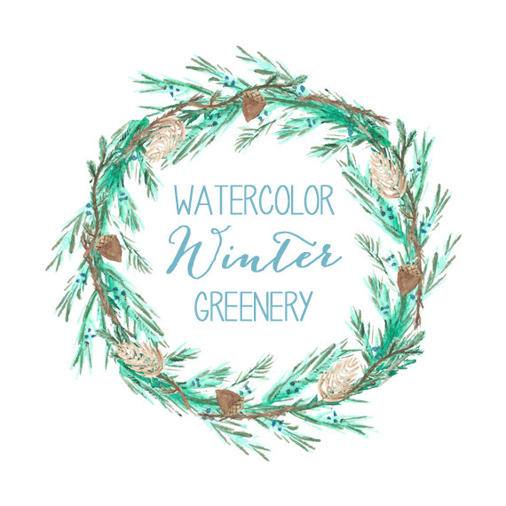 Greenery wreath free clipart.