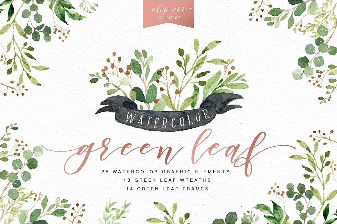 Greenery clip art Photos, Graphics, Fonts, Themes, Templates.