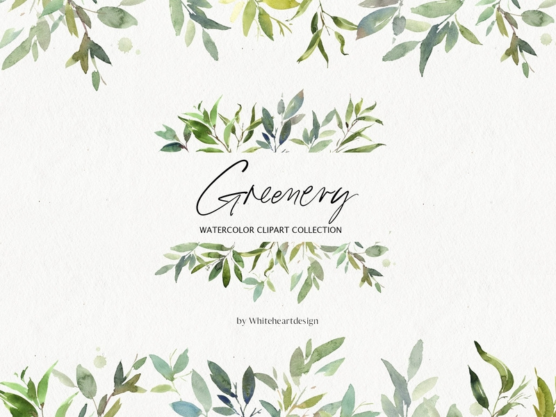 Greenery Watercolor Leaves Clipart by Graphics Collection on Dribbble.