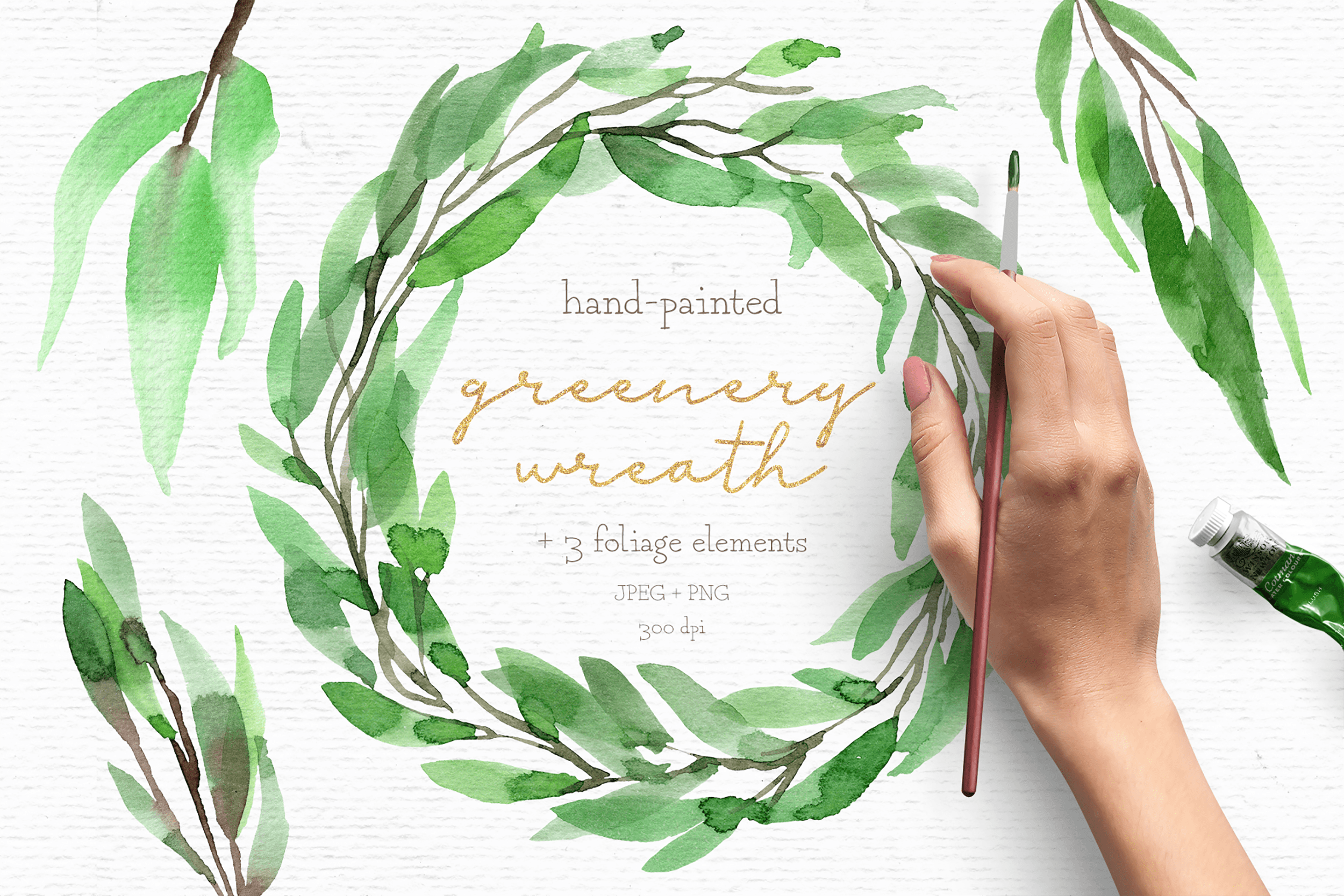 Greenery watercolor wreath clipart.