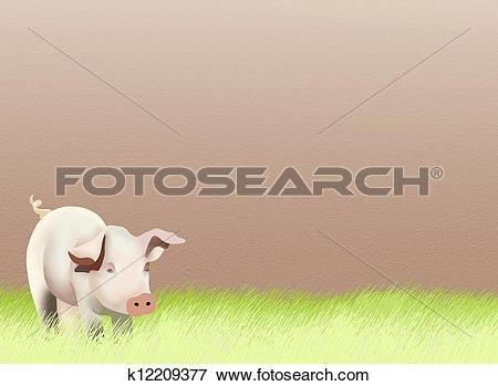 Stock Illustration of Hand Drawing of A Baby Pig on Greenfield.