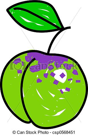 Clipart of greengage plum isolated on white drawn in toddler art.