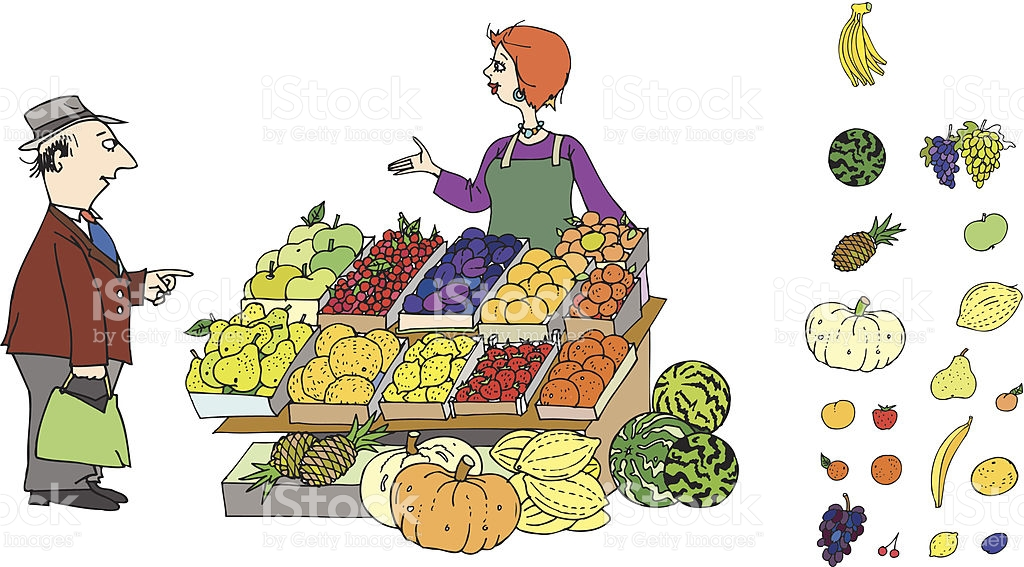 At The Greengrocers stock vector art 451884359.