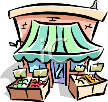 Royalty Free Clip Art Image: Green Grocer Storefront.