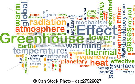 Clip Art of Greenhouse effect background concept.