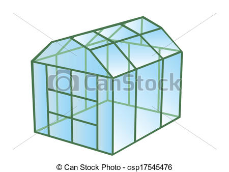 Vectors Illustration of greenhouse isolated on white background.