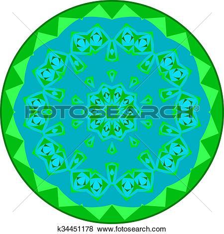 Clip Art of Greenish small mandala k34451178.