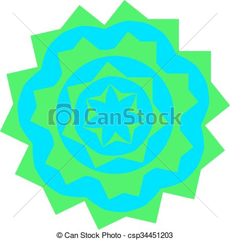 Vector Clipart of Greenish small mandala located on white.
