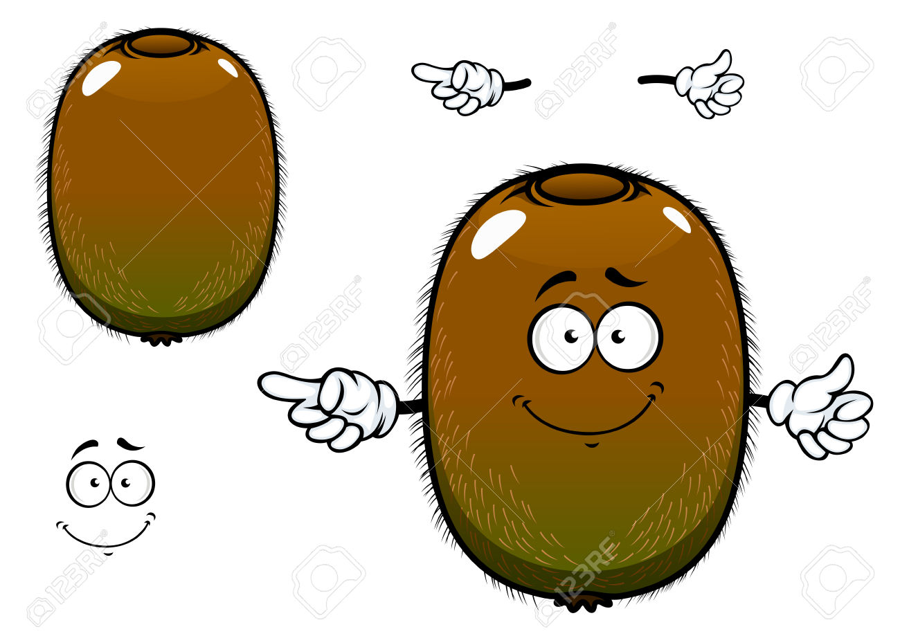 Ripe Kiwi Fruit Cartoon Character With Greenish Brown Fuzzy Skin.