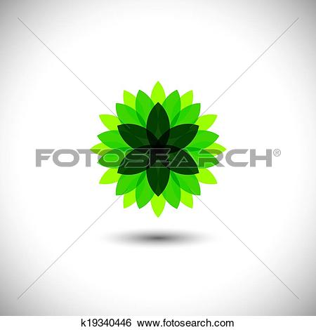 Clip Art of green flower icon of leaves in stylized pattern.