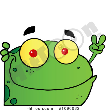 Frog Clipart #1090032: Green Peace Frog Looking Around a Corner by.