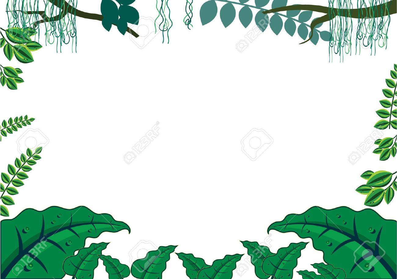 Green Tropical Jungle Frame Concept Royalty Free Cliparts, Vectors.