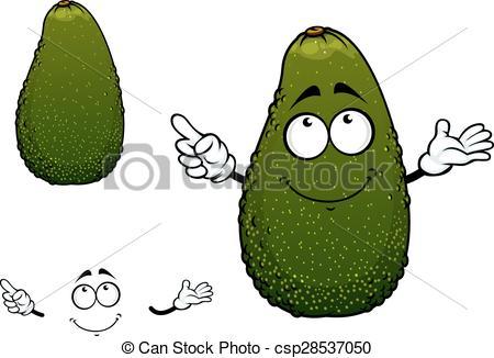 Clipart Vector of Green tropical avocado fruit cartoon character.