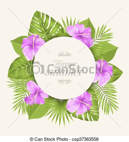 Clipart Vector of Vintage Card with Purple Hibiscus Flowers and.