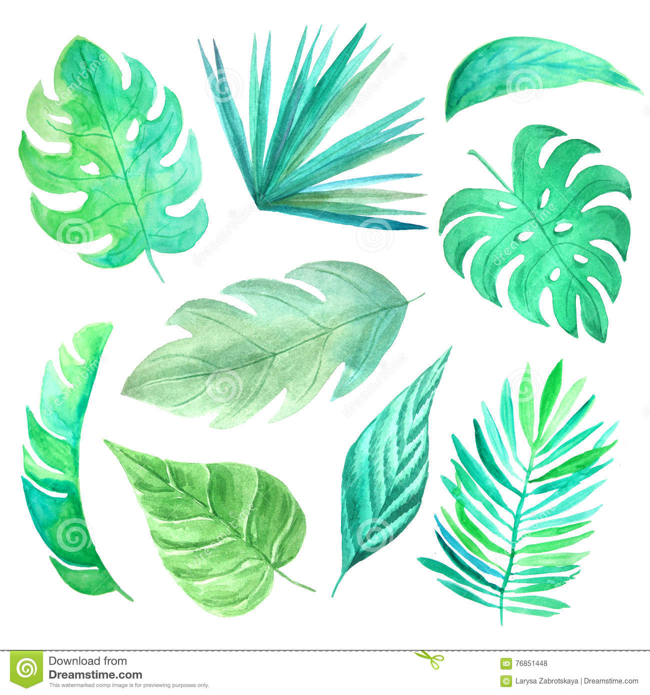 Watercolor Green Tropical Leaves Set Stock Illustration.
