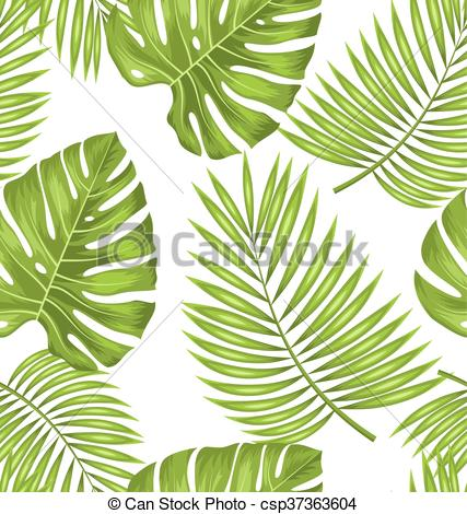 Vector Clipart of Seamless Wallpaper with Green Tropical Leaves.