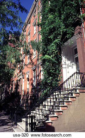Stock Photography of Steps outside Apartments Greenwich Village.