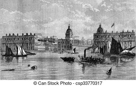 Clipart of Greenwich Hospital, View from the Thames, vintage.
