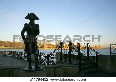 Stock Photo of England, London, Greenwich. Statue of Admiral.