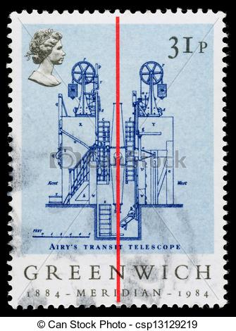 Stock Photography of Britain Greenwich Meridian Postage Stamp.