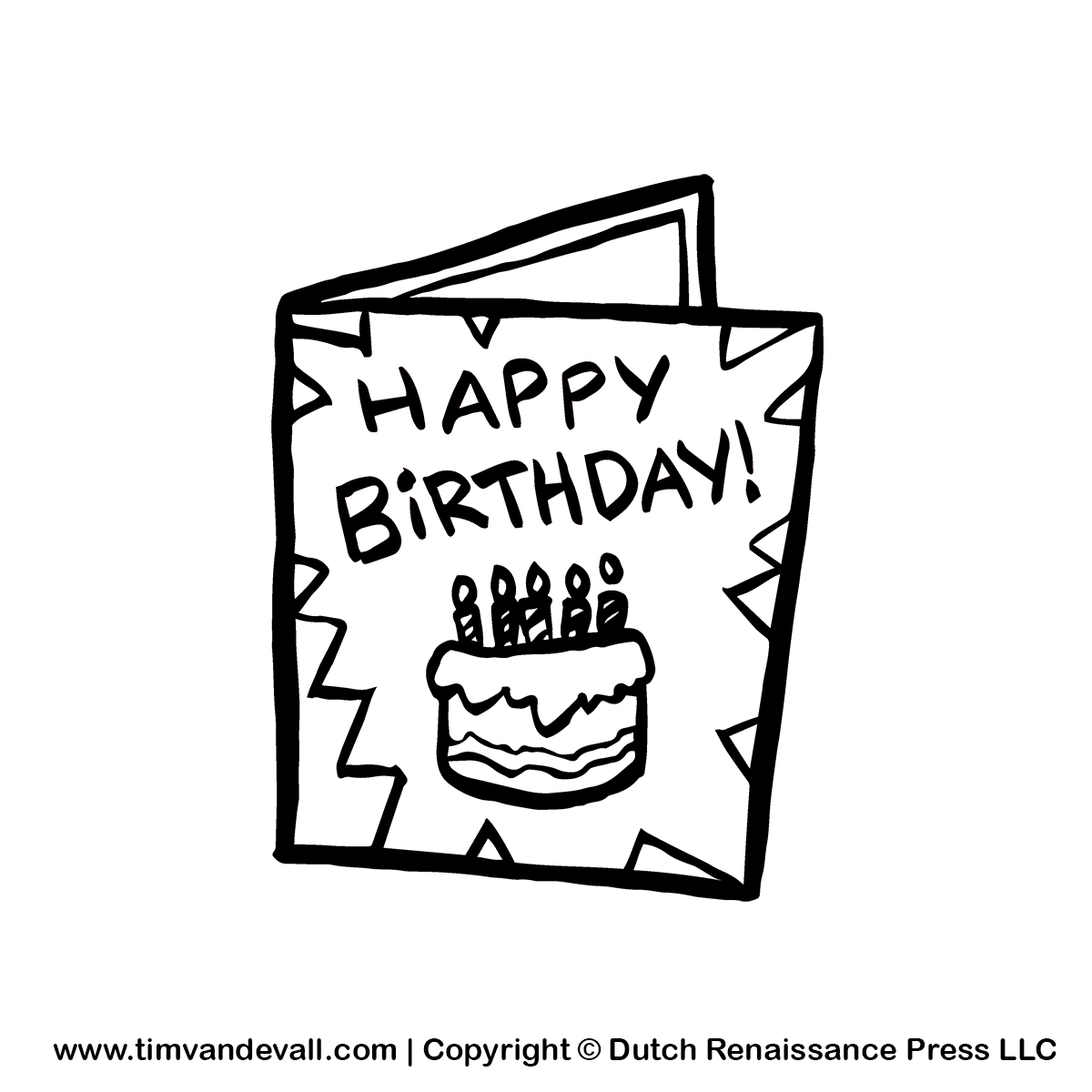 Greeting card clipart Clipground – Black and White Birthday Card