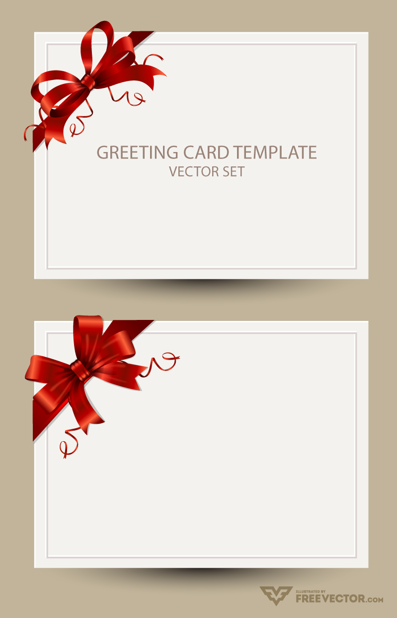 Freebie: Greeting Card Templates with Red Bow.