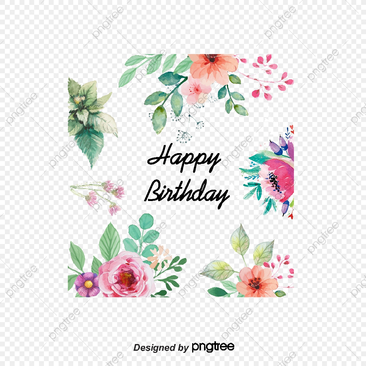 Vector Flowers Greeting Cards, Watercolor Style Flowers, Birthday.
