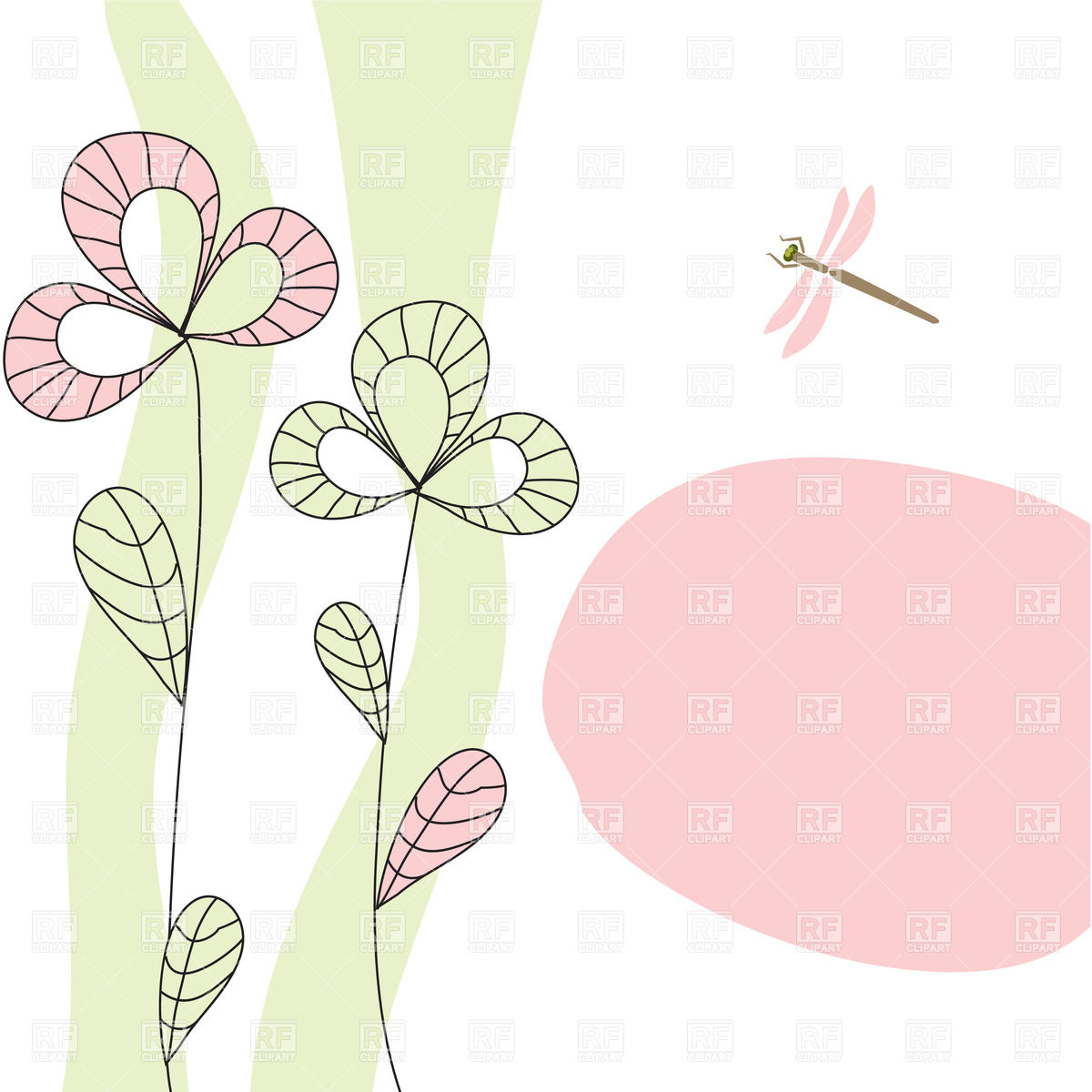 Greeting card with hand drawn symbolic flowers Vector Image #21736.