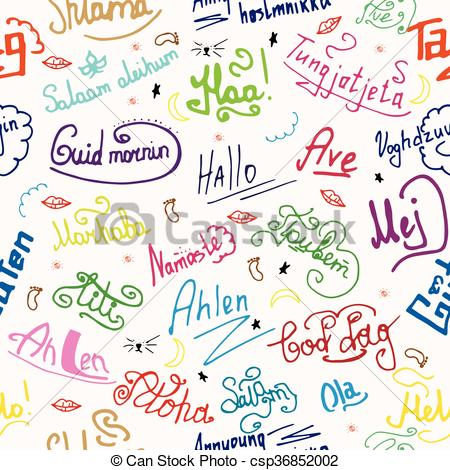 Vector Clipart of seamless texture greetings in different.