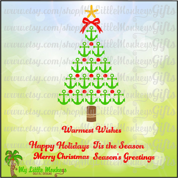 Nautical Anchor Christmas Tree with 5 Greetings Digital Clipart.
