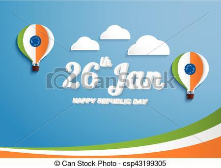 Vector Clipart of Greeting Card design with National color Text.