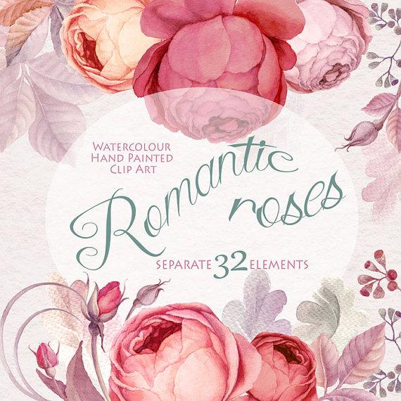 Watercolor Flower Clipart , Marsala Color Romantik rose, Floral.
