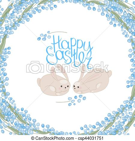 Clipart Vector of Greeting easter card with rabbits, flowers.