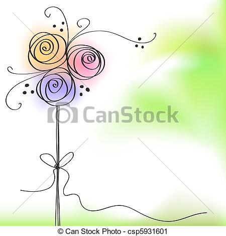 Vector Clip Art of greeting card with color rose flower csp5931601.