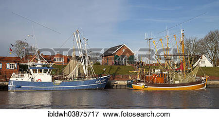 """Picture of """"Fishing boats in the harbor, Greetsiel, Leybucht."""