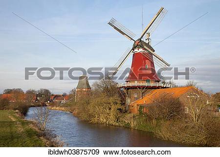 "Stock Photograph of ""Greetsieler Zwillingsmuhlen twin mills, rear."