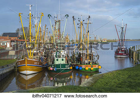 """Picture of """"Fishing boats moored in the fishing port, Greetsiel."""