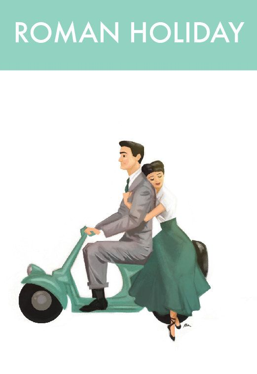 Roman Holiday Print (Audrey Hepburn and Gregory Peck on a scooter.