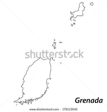 Grenada Black And White Clipart.